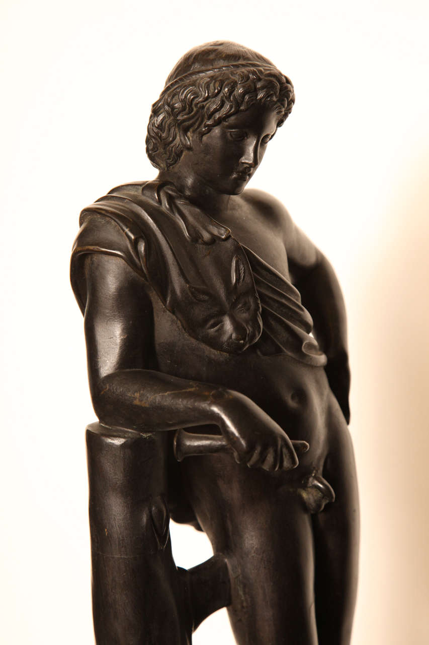 19th Century Bronze Youth on a Marble Base For Sale 6