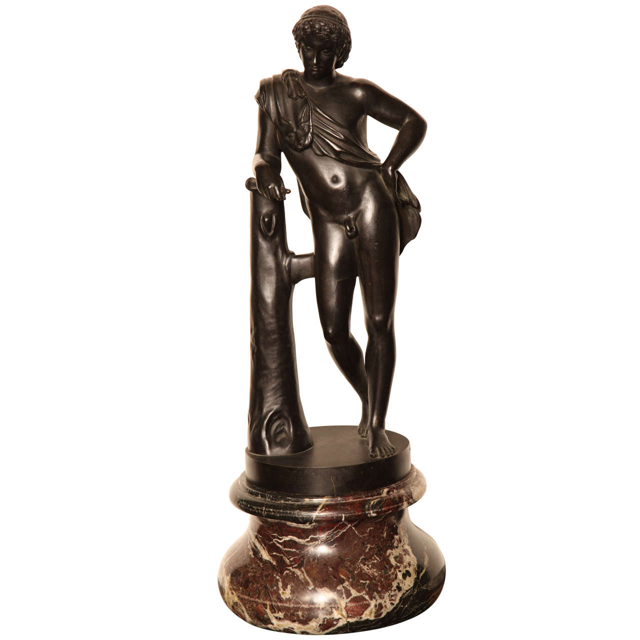 19th Century Bronze Youth on a Marble Base For Sale