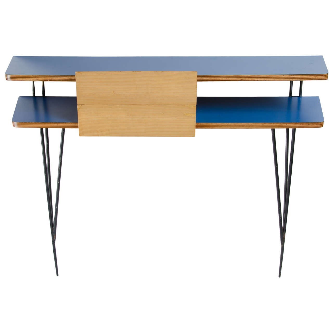 Blue formica console table at 1stdibs for Table formica