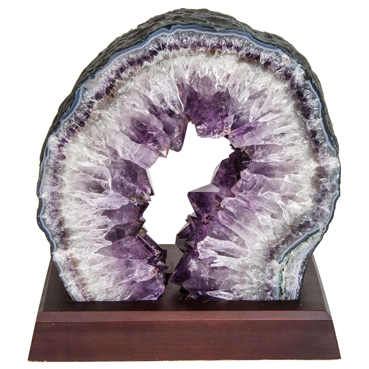 Exquisite Quartz And Amethyst Geode Sculpture On Stand At