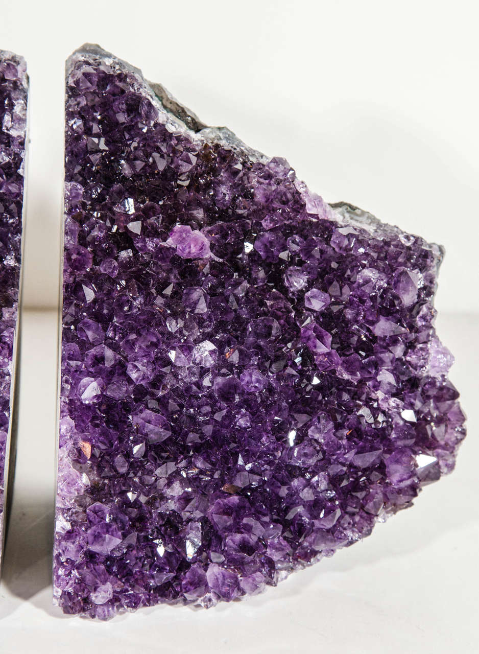 Brazilian Pair of Spectacular Large-Scale Natural Amethyst Bookends For Sale