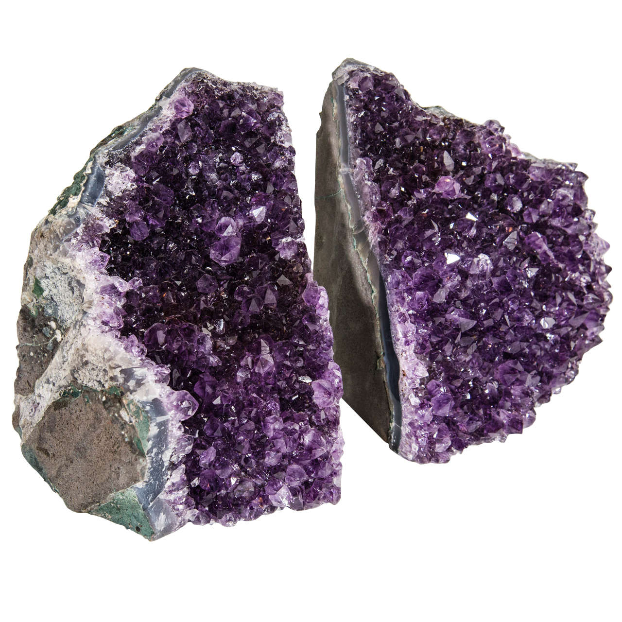 Pair of Spectacular Large-Scale Natural Amethyst Bookends For Sale