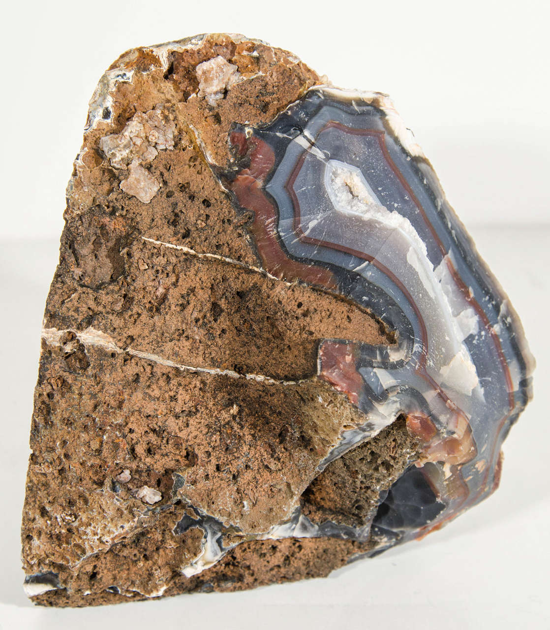 Organic Agate Stone Sculpture with Crystalline Center For Sale 1