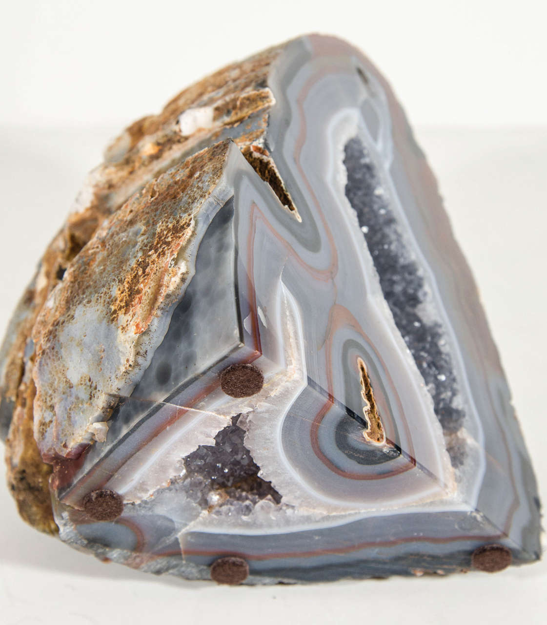 Organic Agate Stone Sculpture with Crystalline Center For Sale 2