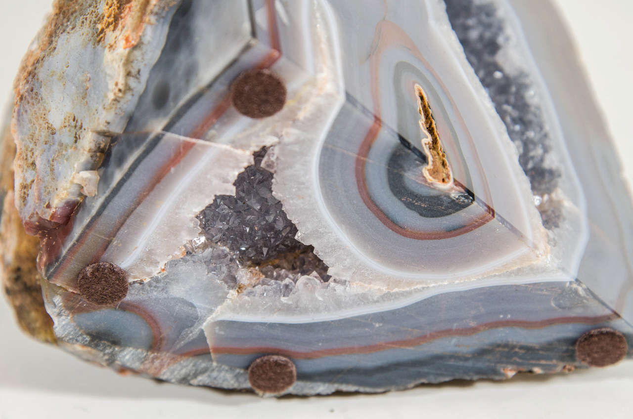 Organic Agate Stone Sculpture with Crystalline Center For Sale 3