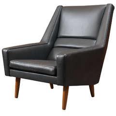 Danish Leather High Back Lounge Chair