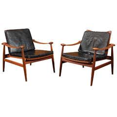 Pair of Finn Juhl #133 Spade Lounge Chairs