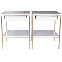 Regeneration Lacquer and Brass Bedside Tables