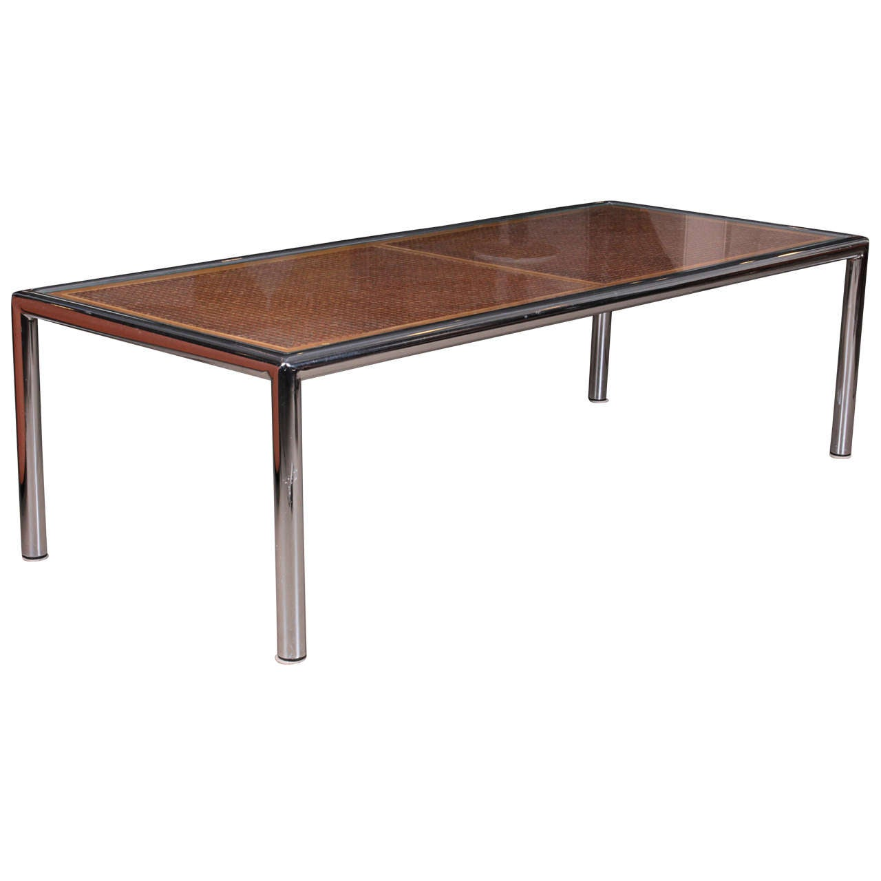 1970s Chrome And Caned Coffee Table By Milo Baughman At 1stdibs