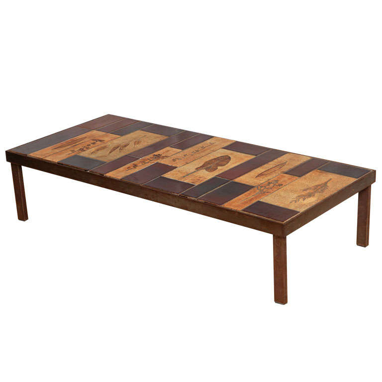 Roger Capron Coffee Table with Garrigue and Lava Tiles For Sale