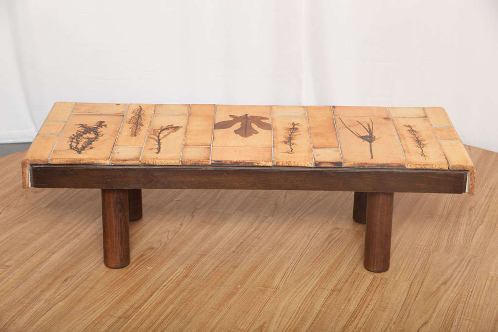 Mid-Century Modern Coffee Table by Roger Capron with Garrigue Tiles For Sale