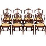 Set Of Eight Shield Back Rush Seat Dining Chairs