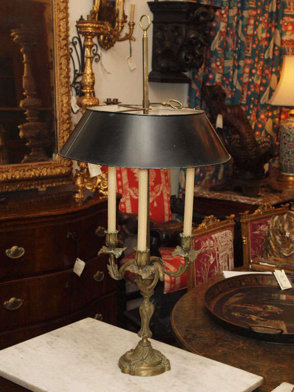 French Bronze Louis Xv Bouillotte Lamp W Tole Shade For