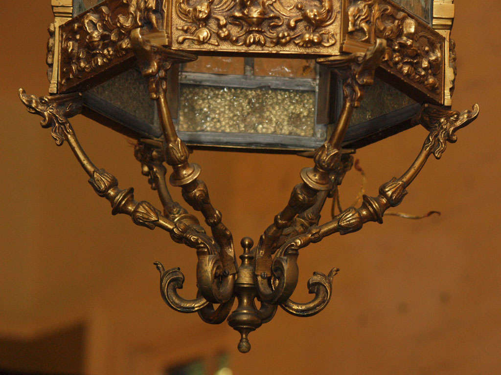 English Brass And Stained Glass Lantern For Sale 7