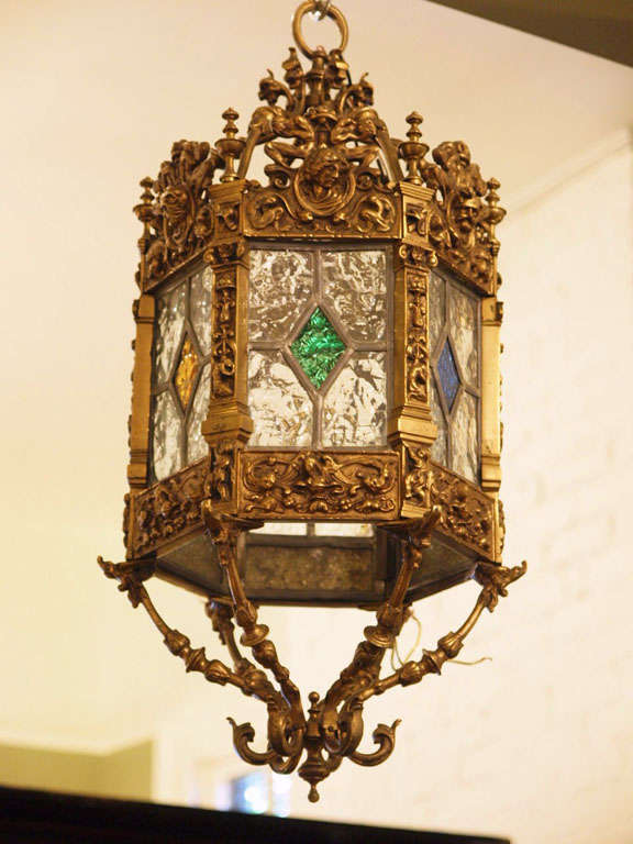 English brass and stained glass lantern.