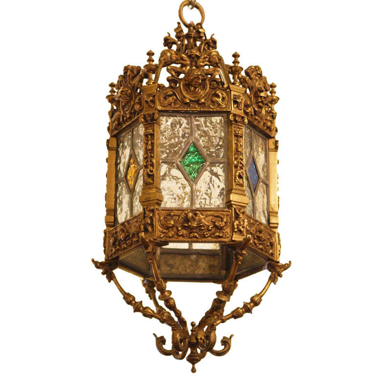 english brass and stained glass lantern 1