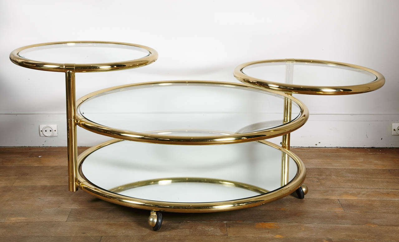 a four tier swivel coffee table by pace circa 1970 at 1stdibs. Black Bedroom Furniture Sets. Home Design Ideas