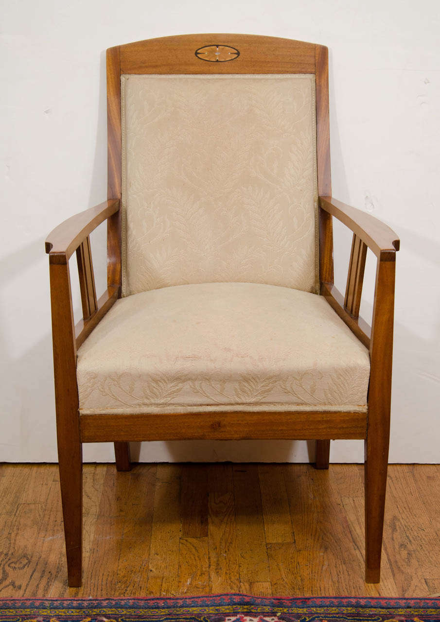 Jugendstil Mahogany Salon Chairs with Ebony, Birch and Mother-of-Pearl Inlay 2