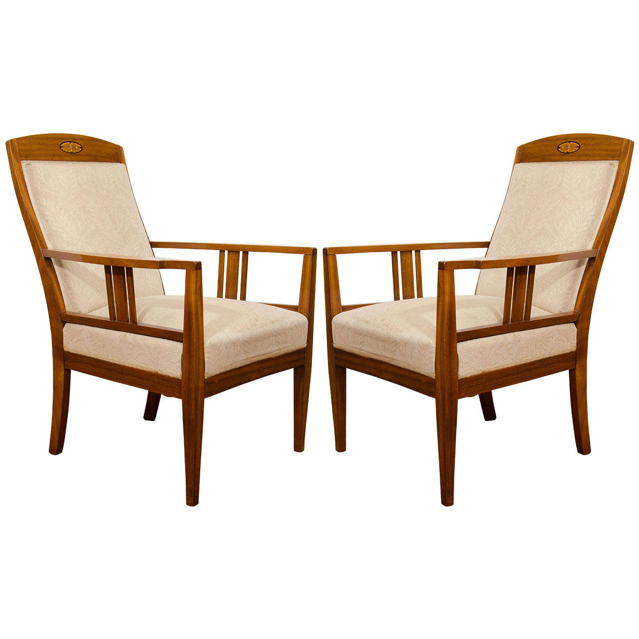 Jugendstil Mahogany Salon Chairs With Ebony Birch And Mother Of Pearl Inlay For Sale At 1stdibs