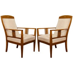 Jugendstil Mahogany Salon Chairs with Ebony, Birch and Mother-of-Pearl Inlay