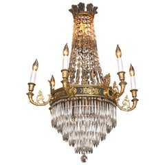 Feather Crown Bronze & Crystal Chandelier Attributed to Caldwell