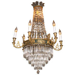 Caldwell Feather Crown Bronze & Crystal Chandelier