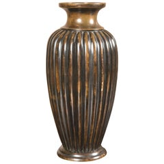 Lobed Japanese Bronze Vase
