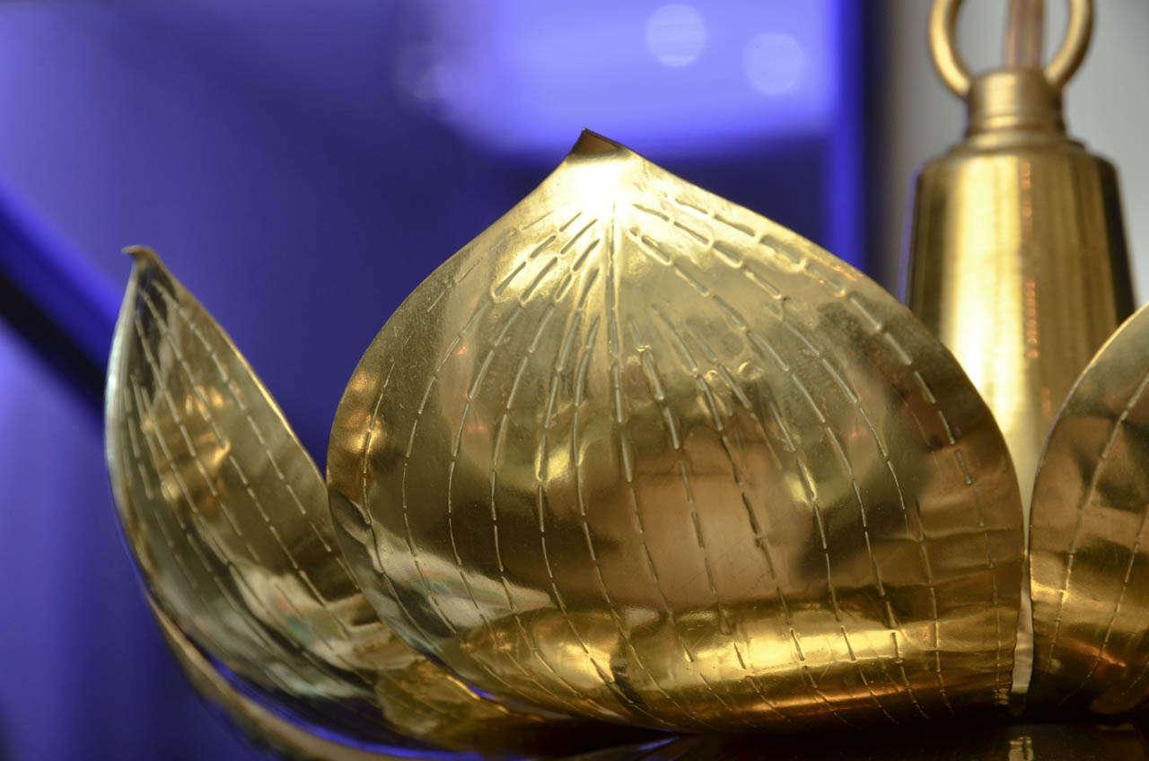 Brass Lotus Flower Pendant, by Feldman In Excellent Condition For Sale In Bridgehampton, NY