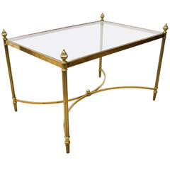 Brass and Glass Side Table with Acorn Finials by Bagues