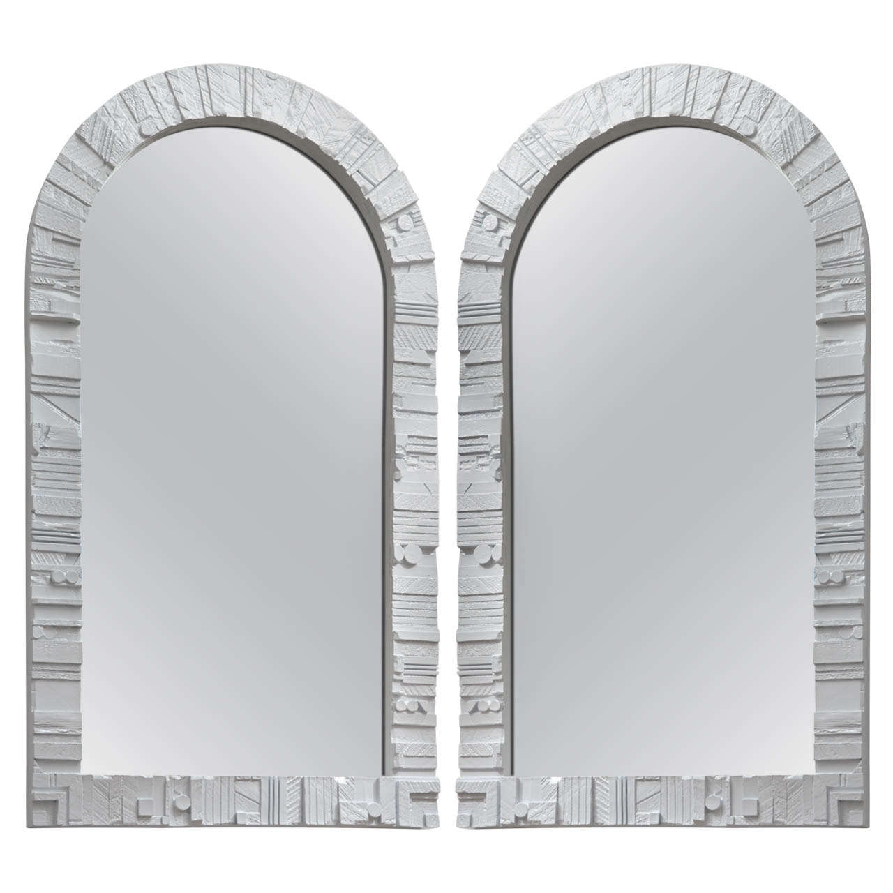 pair of white lacquered wood frame arched mirrors 1