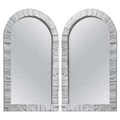 Pair of White Lacquered Wood Frame Arched Mirrors