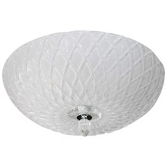 Shimmery Opaque WHite Murano Blown Diamond Textured Ceiling Fixture
