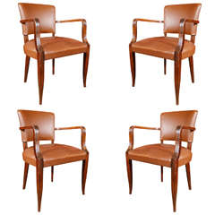 1920s Set of Four French Deco Upholstered Armchairs