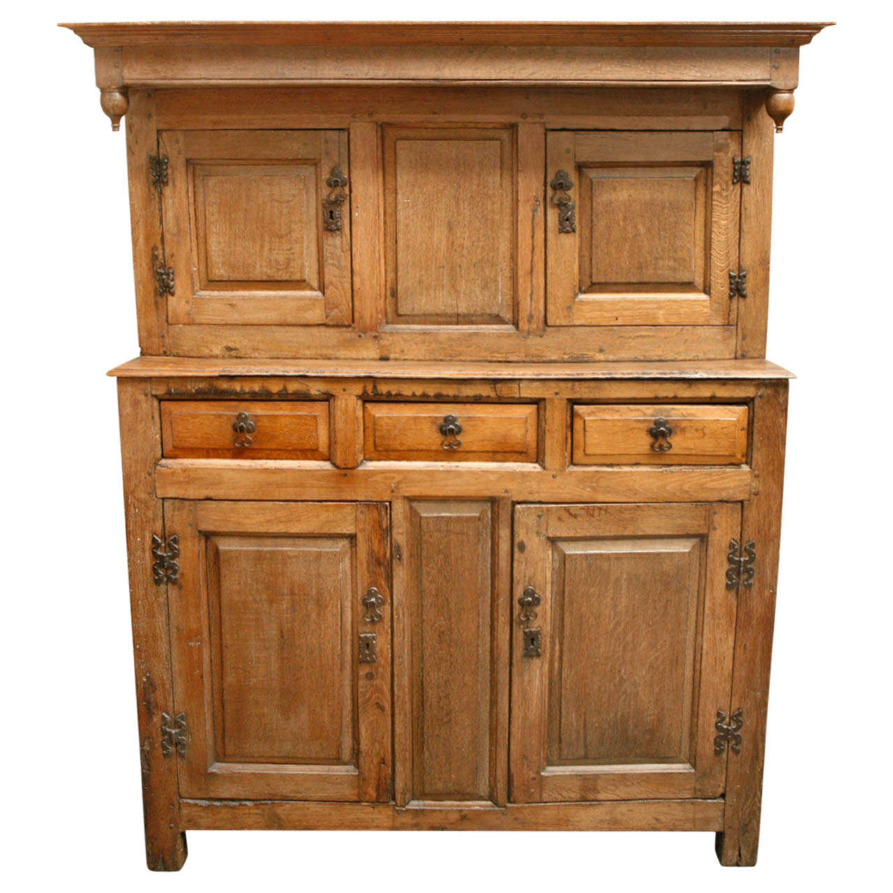 1800s English Court Oak Cupboard