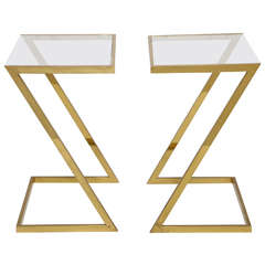 Pair of 1970's Brass Side Tables