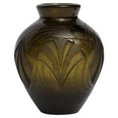 Legras, Acid-etched glass vase, France, c. 1920