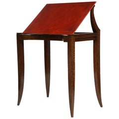 Adjustable Leather-topped Drawing Table, France, C. 1930