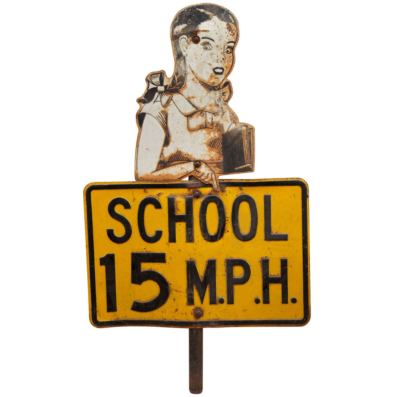 Painted Sheet Metal School Traffic Sign For Sale At 1stdibs