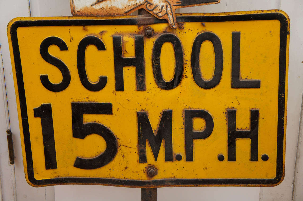 Painted Sheet Metal School Traffic Sign In Excellent Condition For Sale In Hudson, NY