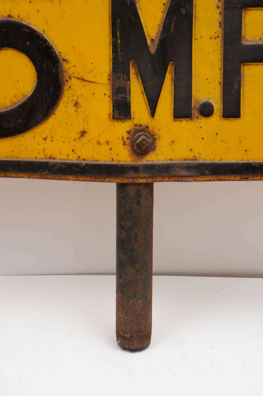 Mid-20th Century Painted Sheet Metal School Traffic Sign For Sale