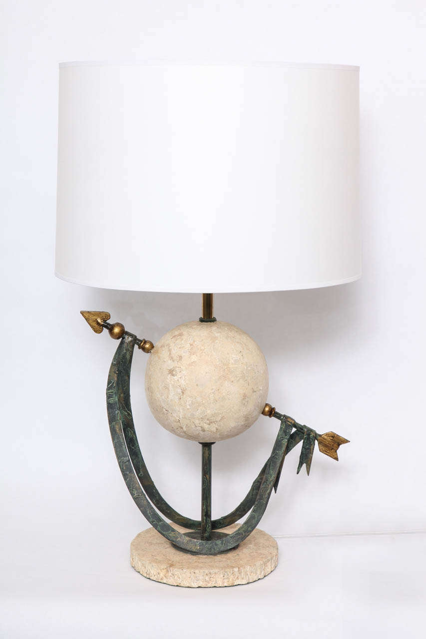 Comitalian Designer Table Lamps : Italian 1970s Classical Modern Stone and Metal Table Lamp For Sale at ...
