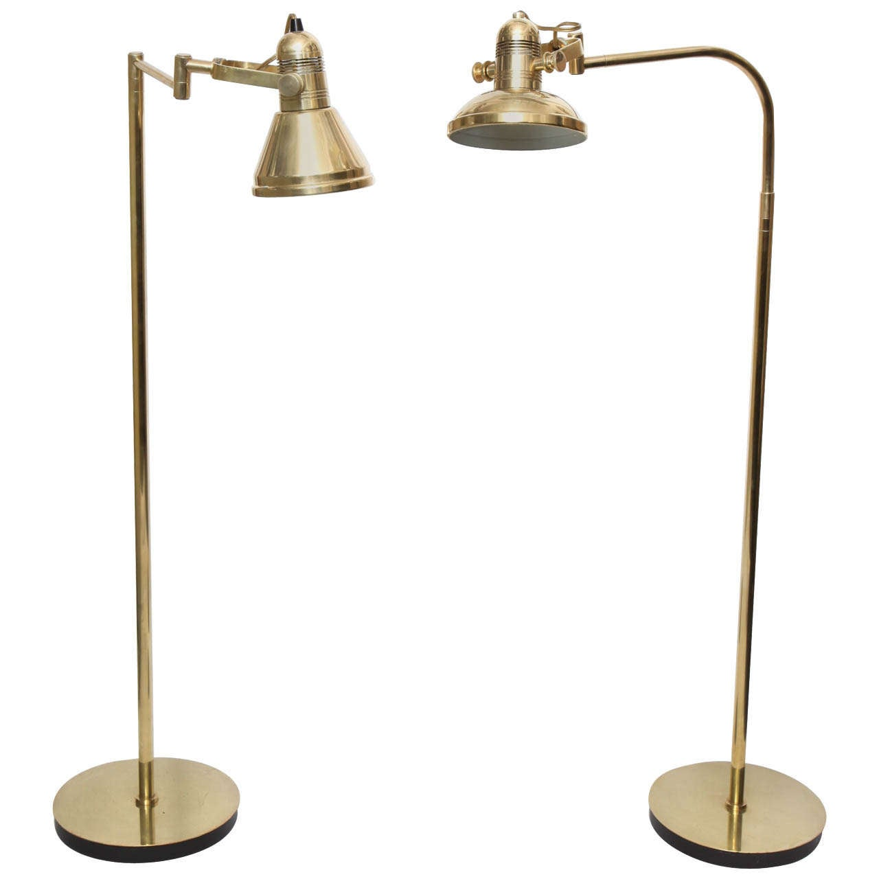 Pair Of 1970s Articulated Brass Floor Reading Lamps By