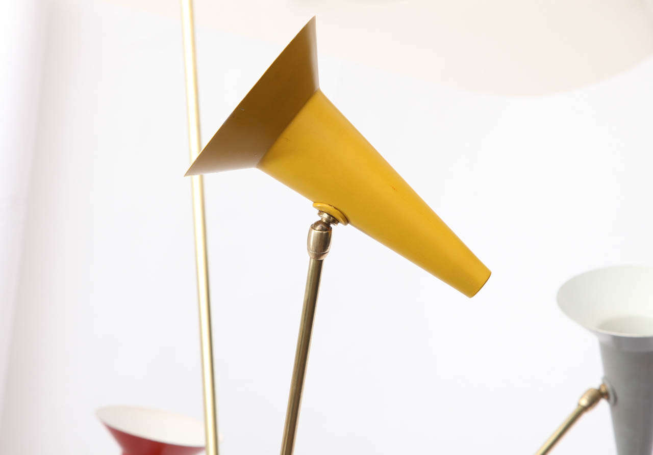 1950s Italian Articulated Ceiling Fixture Signed Lumen In Excellent Condition For Sale In New York, NY