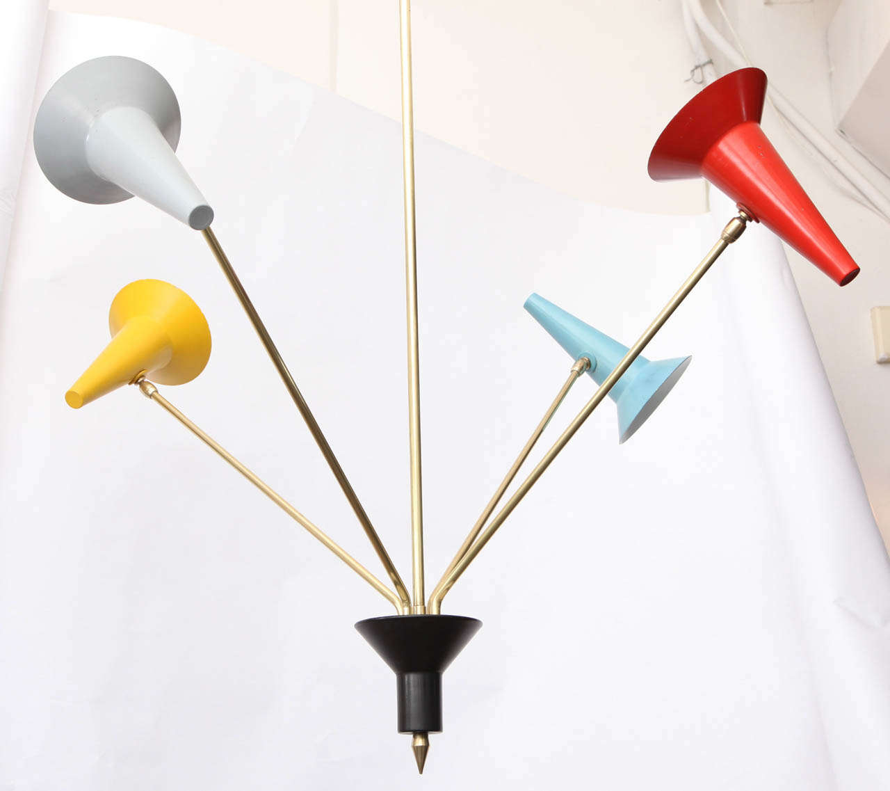 1950s Italian Articulated Ceiling Fixture Signed Lumen For Sale 2