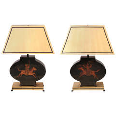Pair of Classical Modern Decorated Tole Metal Table Lamps