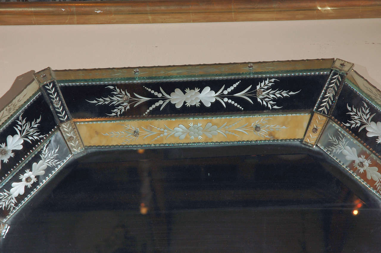 Hand-Etched Venetian Mirror In Excellent Condition For Sale In Newport Beach, CA
