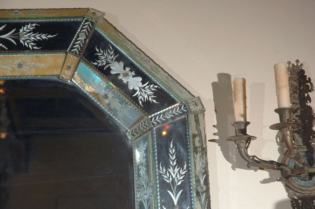Mid-20th Century Hand-Etched Venetian Mirror For Sale