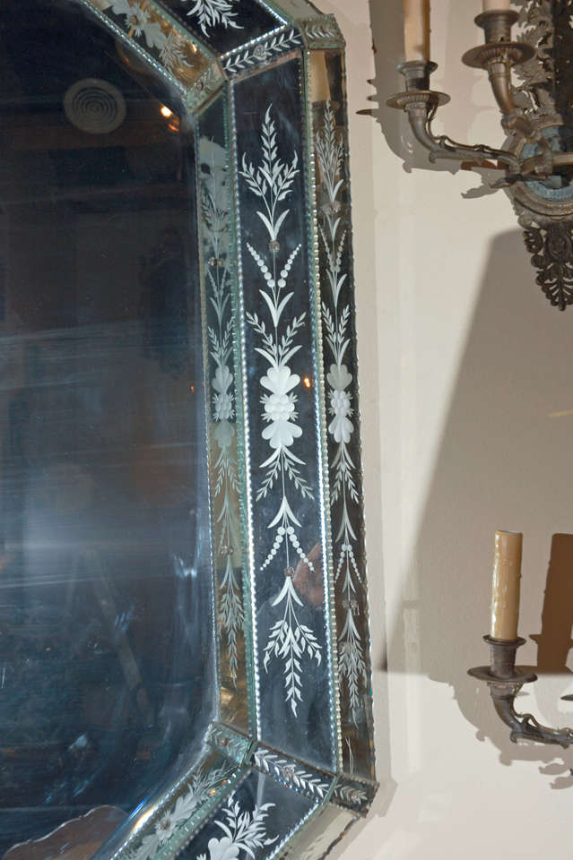 Glass Hand-Etched Venetian Mirror For Sale