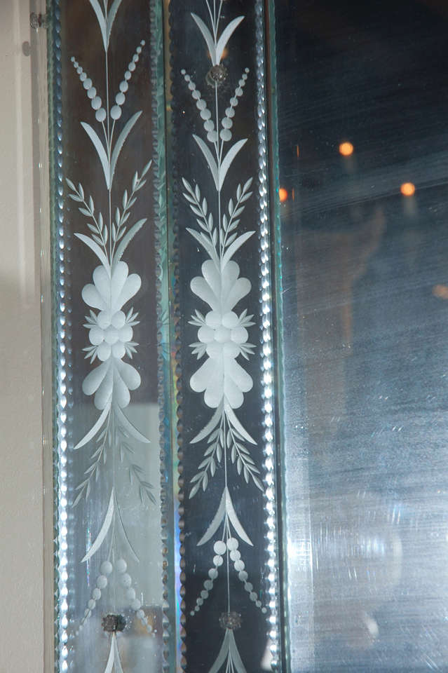 Hand-Etched Venetian Mirror For Sale 1