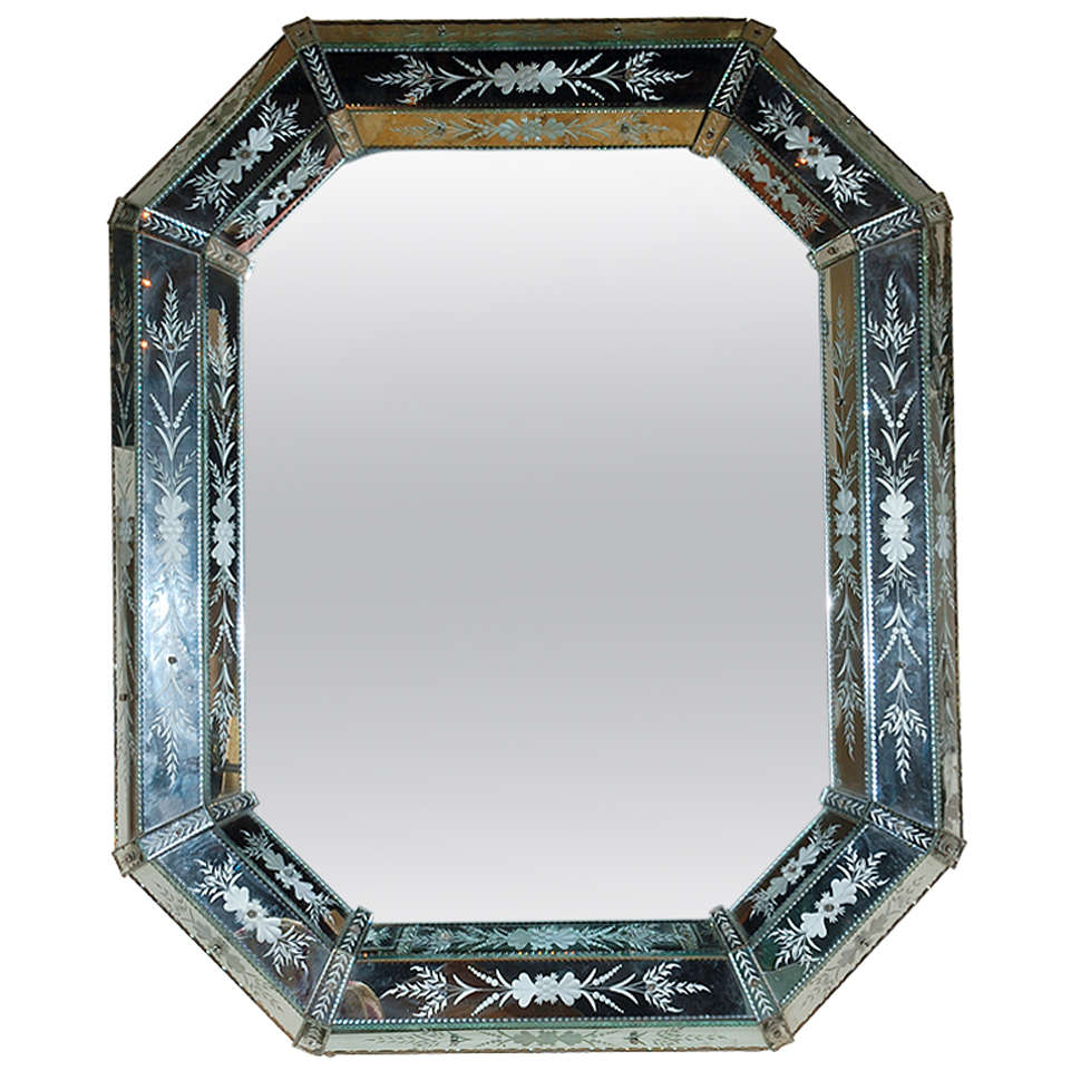 Hand-Etched Venetian Mirror For Sale